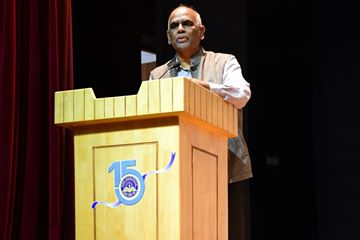 Dr. Avadhesh Kumar Singh, former VC, Dr. B.R.Ambedhkar Open University during a lecture session today at our campus.